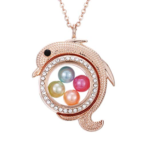(ChengYu Rose Gold Dolphin Living Memory 8mm Beads Pearl Cage Glass Floating Locket Magnetic Pendant Rhinestone Necklace Gift for Her (Dolphin) )