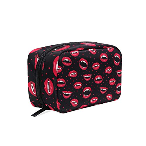 Makeup Bag Halloween Devil's Red Lips Pattern Cosmetic Pouch Clutch -