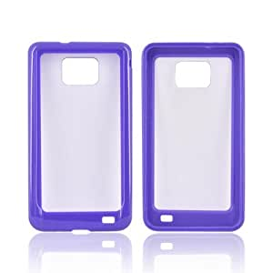 Purple Clear Hard Plastic Back Case Cover w Gummy Crystal Silicone Lining For Samsung Attain i9100