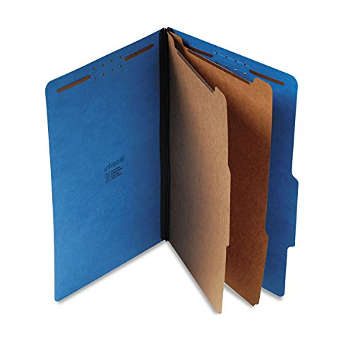 Universal 10311 Pressboard Classification Folders, Legal, Six-Section, Cobalt Blue (Box of (Section Top Tab Classification Folders)