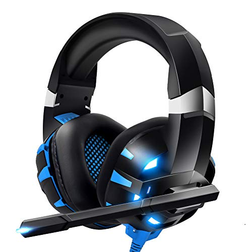 RUNMUS Gaming Headset Xbox One Headset with 7.1 Surround Sound Stereo, PS4 Headset with Mic & LED Light, Compatible with PC, Laptop, PS4, Xbox One Controller(Adapter Not Included), Nintendo Switch (Best Cheap Playstation 3 Games)