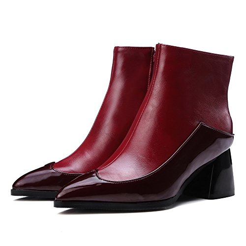 Pointed Claret Toe Top PU Closed Low Kitten Heels AgooLar Zipper Boots Women's fpqBxqE6