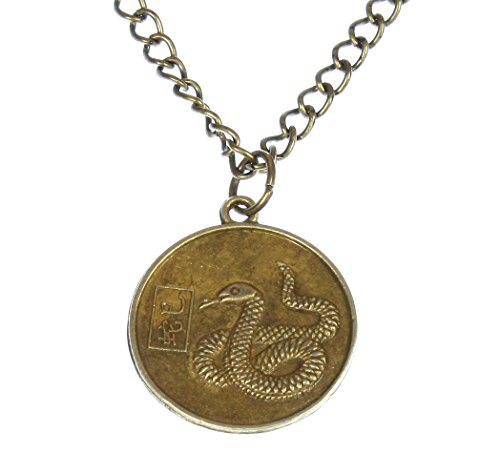 Style ARThouse Year of The Snake, Chinese Zodiac Snake Round Pendant on Chain; 20 Inches Adjustable Chinese Snake Zodiac Pendant