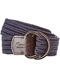 Faconnable Mens Leather-Trim Belt, Blue