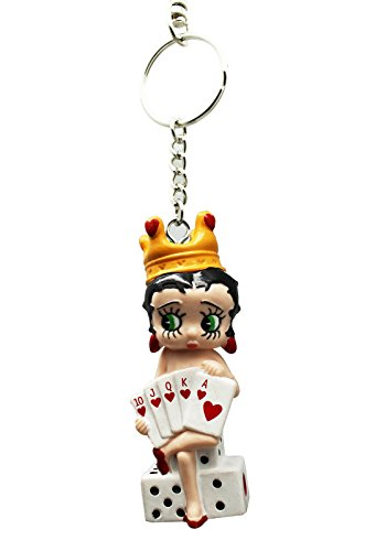 Betty Boop Small Leather Jacket w/Red Top and Pants Charm Keychain ()