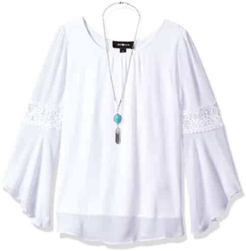 Amy Byer Big Girls' Long Bell Sleeve Blouse with Lace Trim
