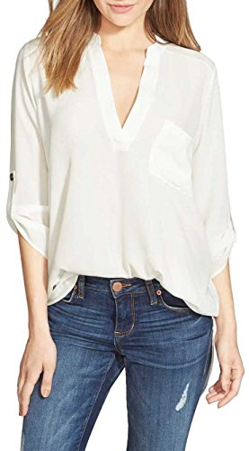 Women's Roll Tab Sleeve Tunic,Perfect Long for Leggings Shirt Cute Versatile Top(White,M)
