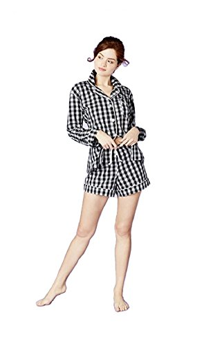 Bed Head Black Gingham Cotton L/S Classic Shorty PJ Set 1177-CF6-5853 (XS, - Head Bed Womens Set Classic Pajama
