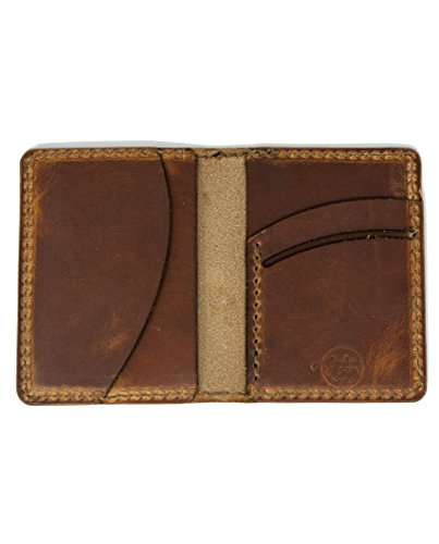 Men's Leather Wallet - Full Grain / Minimalist / Distressed / Slim / Front pocket / Tan Leather / Brown Thread / Horween