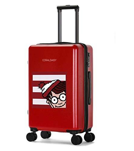 ファッショントロリーケースユニバーサルホイール漫画スーツケースかわいいプリントギフトスーツケース L レッド B07PZS9Y8M