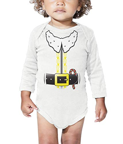(Elf Costume - North Pole Santa Claus Long Sleeve Bodysuit (White, 6 Months))
