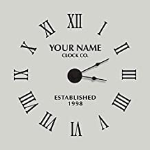 """Classy Clock Personalized WClassy Clock Personalized Working Wall Clock Decal - 22.5"""" Black - Complete Kit with Working Clock Motor and Hands - Katazoom Wall Decalsorking Wall Clock Decal 57.15 CM Black - Complete Kit with Working Clock Motor and Hands - Katazoom Wall Decals"""
