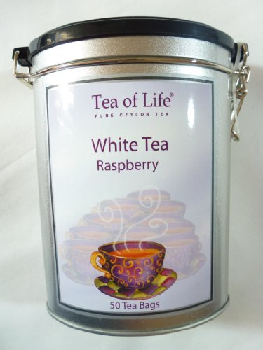 Ceylon White Tea - Tea of Life Pure Ceylon White Tea Raspberry 50-ct Tin