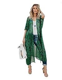 Mixmax - Kimono de gasa para mujer, manga cortada, suelto, Verde 3, M
