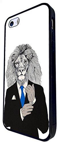 1078 - Cool Fun Lion Head Boss Man Suit Inspiration Success Tie Main Man Nature Design iphone SE - 2016 Coque Fashion Trend Case Coque Protection Cover plastique et métal - Noir