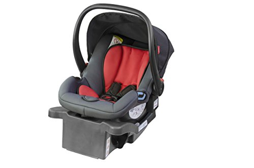 phil&teds Alpha Ultra Light Infant Car Seat with Latch Base, Red - Easy Adjust and Install - Newborn up to 32