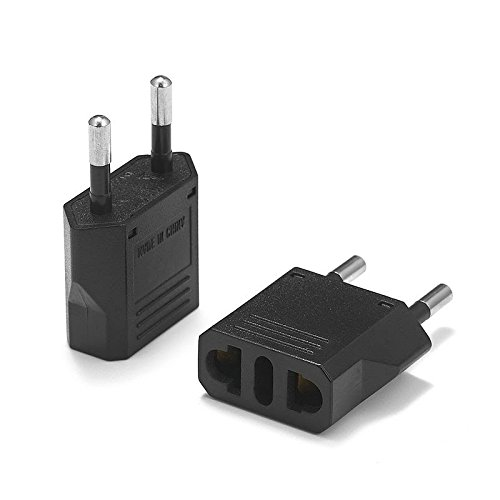 United States to France Travel Power Adapter to Connect North American Electrical Plugs to French Outlets for Cell Phones, Tablets, e-Book Readers, and More (2-Pack, Black)