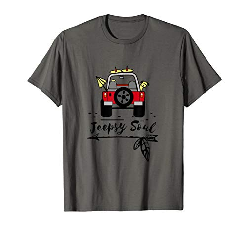 Jeepsy Soul Road Trip with Dog in Car T Shirt