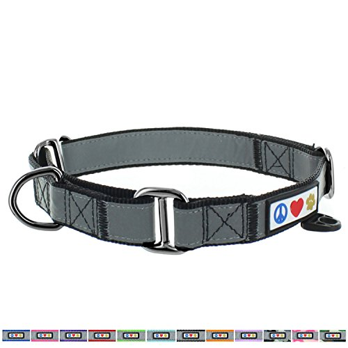 pawtitas-pet-reflective-adjustable-soft-dog-collar-martingale-training-black-large-1-inch
