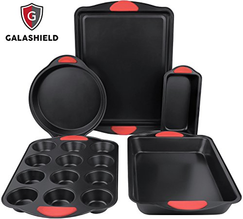 Galashield 5 Piece Nonstick Bakeware Set with Silicone Handles