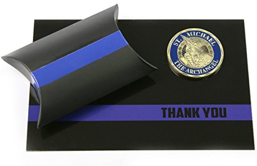 Thin Blue Line Police Officer Support Gift Set St. Michael Challenge Coin & Thank You - Police For Officers Sunglasses