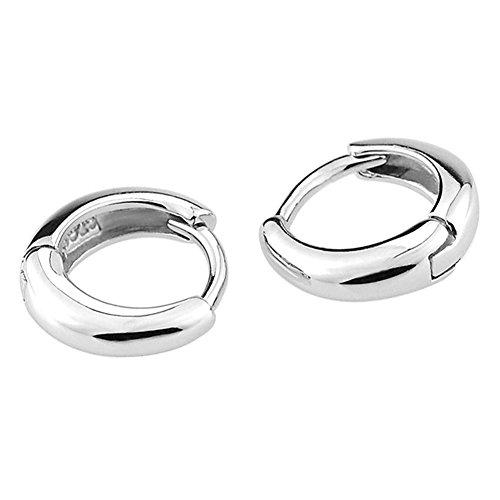 Alvade Simple Small Circle Earrings, Elegant Silver-Plated Stud Earrings Girl Jewelry ()