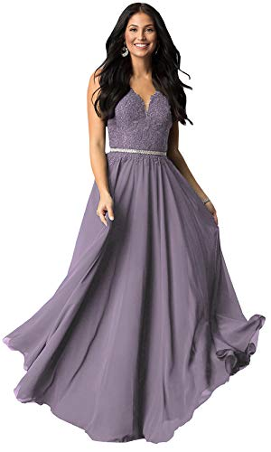 Women's Lace Bodice Chiffon Junior Prom Dresses Long Wedding Guest Party Gowns (Wisteria,14)