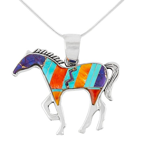 (Horse Necklace Sterling Silver Genuine Turquoise & Gemstones with 20