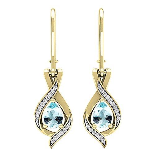 Dazzlingrock Collection 18K 7X5 MM Each Pear Aquamarine & Round White Diamond Ladies Drop Earrings, Yellow Gold
