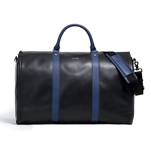 Project 11 Garment Weekender Black Leather with Blue accents by Hook & - Hook Accent