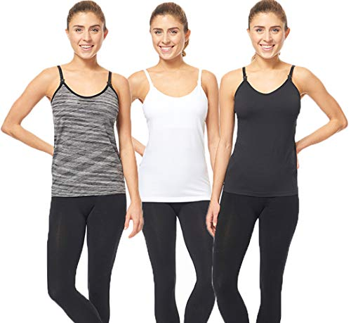 3 Pack 3 Style Clip-Down Double Opening Maternity Nursing Tank Top and Cami Shirts Clothes for Mother's Breast Feeding (S) ()