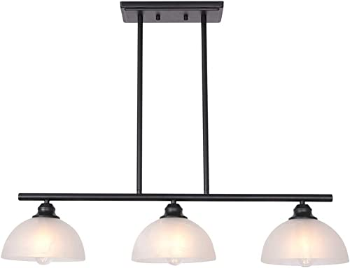 TULUCE Contemporary Chandelier 3-Light Vintage Frosted Glass Shades Pendant Lighting Black Ceiling Lighting for Kitchen Dining Room Living Room Hallway Bedroom
