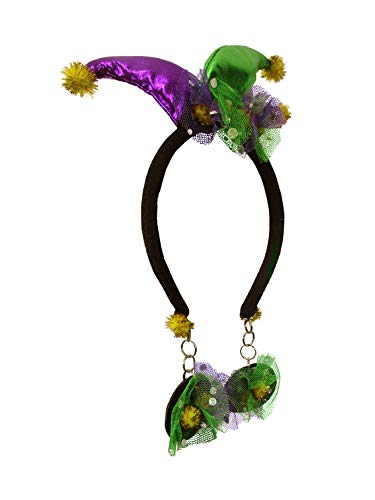 - Nicky Bigs Novelties Mini Mardi Gras Jester Headband with Attached Faux Earrings Costume Accesssory