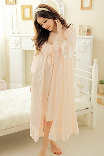 Camellia12 Fantastic Satin Robe Set Lace Chemise Full Slips with Victorian Robe by Camellia12 (Image #3)