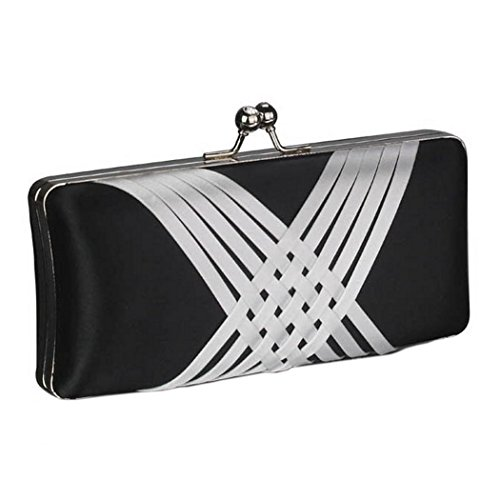 Party a Cross Short Chain Prom Clutch amp; with Long White Bridal Satin Wedding Evening Criss Design Bag and Bag Handbags Black 0wvxfZpq