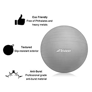 Ball Chair 65cm Flexible Seating Exercise Ball with Stability Ring & Pump, Great for Improving Balance & Core Strength (Office & Home & Classroom) (Ball & Ring & Bands (Silver), 65cm)