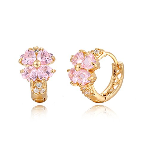 Windshow Girls 18K Gold Plated 4 Leaf Clover Heart Cut Small Hoop Huggie Earring (Pink)