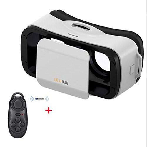 """CLEVER BEAR LEJI Mini Virtual Reality 3D Google cardboard Glasses for Movies Games 4.5 - 5.5"""" Smart Phones + Remote Control (White)"""