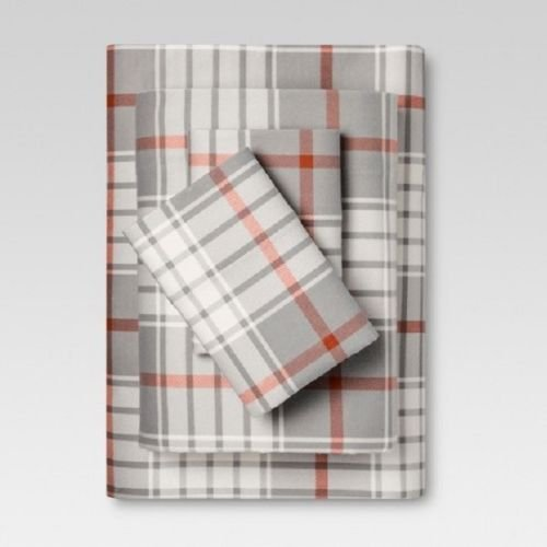 Threshold Gray Orange Plaid Flannel Sheet Set - FULL - 100% - Target Sheets Flannel