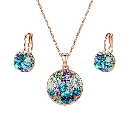 EVEVIC Swarovski Crystals Round Disc Pendant Necklace Earrings Set for Women Girls Rose Gold Plated Jewelry -