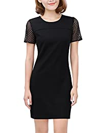Allegra K Women's Short Sleeves Panel Above Knee Sheath Dress