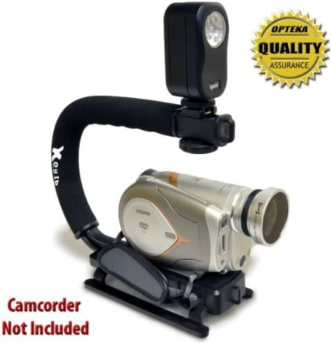 Opteka Extreme Action Video Photographers Kit SD10 for Samsung HMX-H200 H203 Includes The Opteka 0.43x Super Fisheye Lens, X-Grip Camcorder Handle, 3 Watt Video Light H204 H205 SD15 and T10
