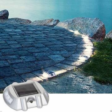 1 Pc- Solar Power White 6LED Road Driveway Pathway Stair Lights