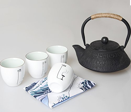 Hwagui - Iron Teapot Gift Set with 4 White Ceramic Cup,Healt