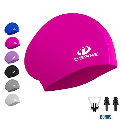 (Womens Silicone Swim Cap for Long Hair,3D Ergonomic Design Silicone Swimming Caps for Women Kids Men Adults Boys Girls with Ear Plug and Nose Clip (Pink))