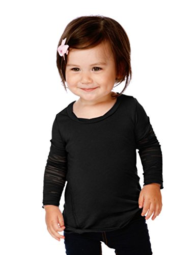 Twofer Girls Top (Kavio! Infants Sheer Jersey Raw Edge Twisted Round Neck Two-Fer Burnout Long Sleeve Black 12M)