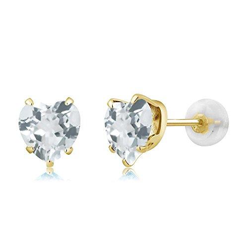 Heart Shape Aquamarine Earrings - 6