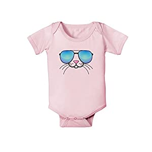 Kyu-T Face - Tiny Cool Sunglasses Infant One Piece Bodysuit - Light Pink - 6 Months