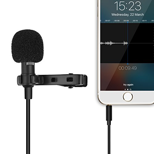 Buy cheap play store lapel omnidirectional condenser microphone recording clip mini mic for iphone and android mobile