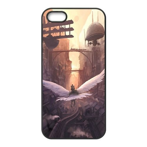 Steam Cityscapes Birds L coque iPhone 5 5s cellulaire cas coque de téléphone cas téléphone cellulaire noir couvercle EEECBCAAN01397